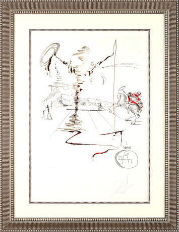 Salvador Dali Lithograph - Don Quixote on an Infinite Landscape