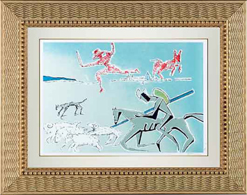 Salvador Dali Don Quixote Lithograph -  The Warrior's Heard